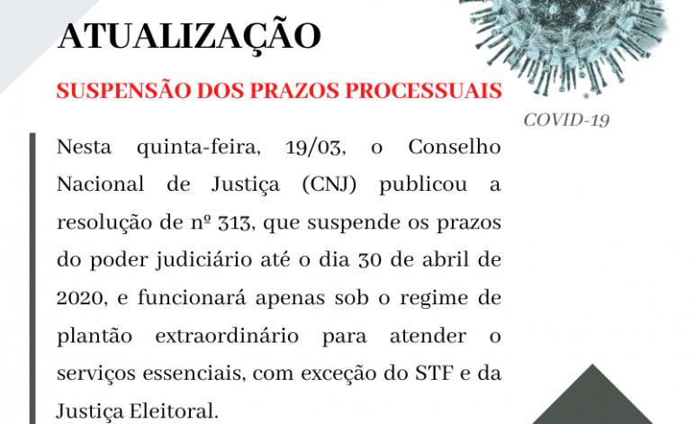 CNJ suspende prazos processuais até dia 30 de abril 2019